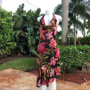 VTG Cache Floral Silk Blend Halter Dress 4